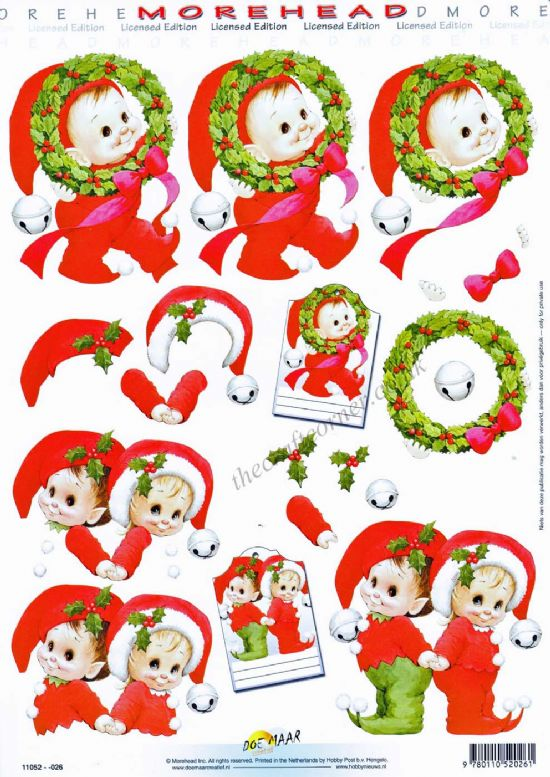 Morehead Christmas Elf 3D Decoupage Sheet